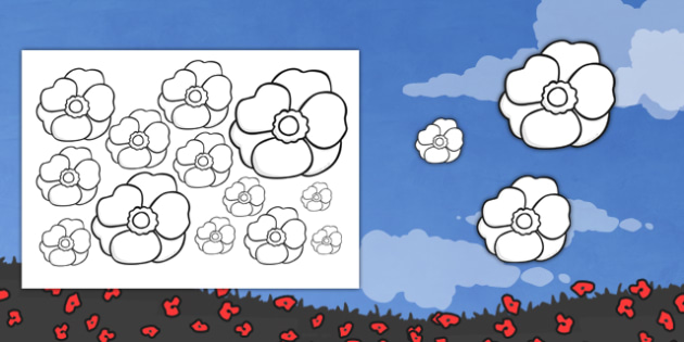 Poppy Outlines - poppys, remembrance, activity, activities