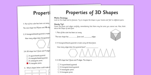 Year 5 Properties of Shapes Activity Sheet - worksheet, test skills, NAPLAN, edges, faces, visualisation, spatial awareness, problem solving, reasoning, three dimensional, 3D
