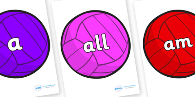 Foundation Stage 2 Keywords on Water Polo Balls - FS2, CLL, keywords, Communication language and literacy,  Display, Key words, high frequency words, foundation stage literacy, DfES Letters and Sounds, Letters and Sounds, spelling
