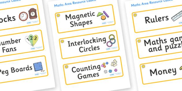 Sunshine Themed Editable Maths Area Resource Labels - Themed maths resource labels, maths area resources, Label template, Resource Label, Name Labels, Editable Labels, Drawer Labels, KS1 Labels, Foundation Labels, Foundation Stage Labels, Teaching La