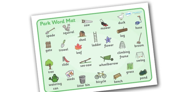 Park Word Mat to Support Teaching on Percy the Park Keeper - after the storm, percy the park keeper, percy, picture, word mat, mat, writing aid, park, rabbit, fox, acorn, shed, wheelbarrow, mole, owl