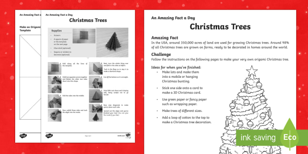 Amazing Fact a Day KS2 Countdown to Christmas Day 5 Origami Christmas Tree Activity Sheet - Amazing Fact Of The Day, activity sheets, powerpoint, starter, morning activity, December, Christmas - Amazing Fact Of The Day, activity sheets, powerpoint, s