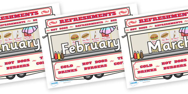 Months of the Year on Fairground Food Vans - Months of the Year, Months poster, Months display, display, poster, frieze, Months, month, January, February, March, April, May, June, July, August, September
