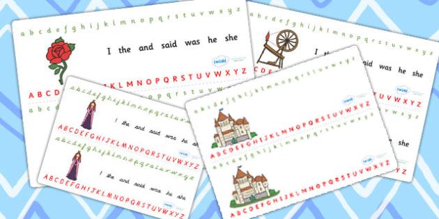 Sleeping Beauty Alphabet Strips - sleeping beauty, alphabet, alphabet strip, alphabet line, letters, a-z, a-z strip, a-z line, writing aid, themed alphabet
