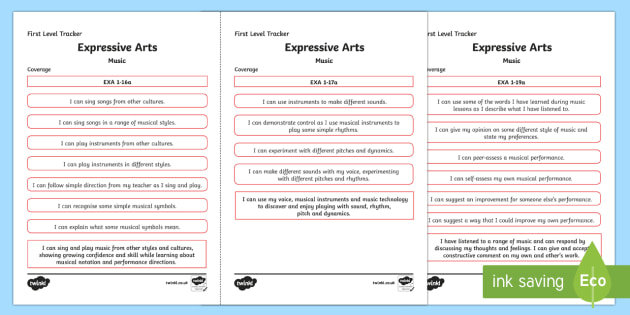 CfE Expressive Arts (Music) First Level Child Friendly Tracking-Scottish - Child Friendly Tracking CfE, tracker, EXA, curriculum for excellence, 1st level, progression, I can,