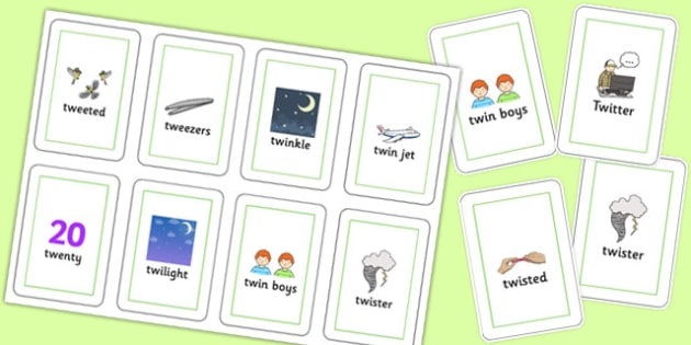 Two Syllable TW Flash Cards - sen, sound, special educational needs, tw, flash cards