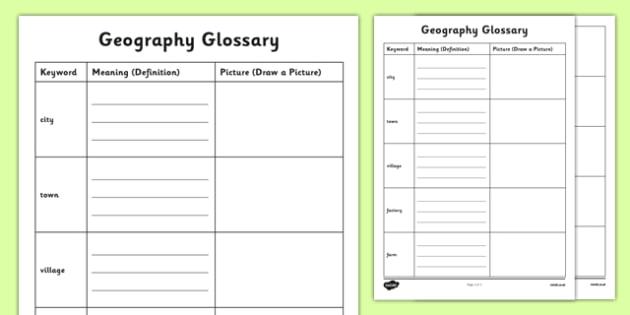 Human Geography KS1 Glossary Activity