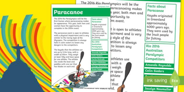 Australia Rio Paralympics 2016 Paracanoe Display Poster