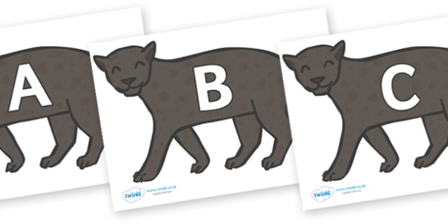 A-Z Alphabet on Panthers - A-Z, A4, display, Alphabet frieze, Display letters, Letter posters, A-Z letters, Alphabet flashcards