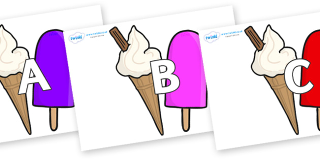 A-Z Alphabet on Ice Cream and Lollies - A-Z, A4, display, Alphabet frieze, Display letters, Letter posters, A-Z letters, Alphabet flashcards