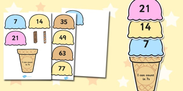 Counting in 7s Ice Cream Activity -  maths, numeracy, count, on, add, lots of, numbers, sequence, pattern, work, sheet, fun, game, seven, sevens, times table, multiplication, ks1, ks2