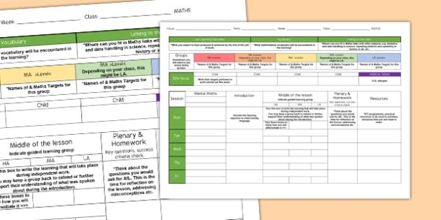 Weekly Plan Template For Maths - Template, Plan, Maths, Weekly
