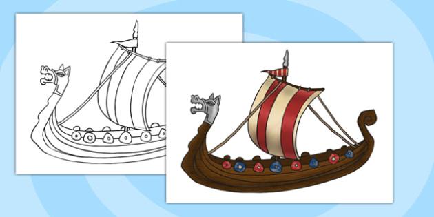 A4 Viking Ship Cut Out KS2 - vikings, history, display, ship, boat