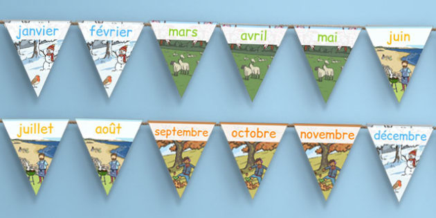 Months of the Year Display Bunting French - french, months, year, display, bunting