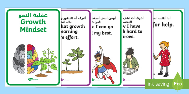 Growth Mindset Statement Posters Arabic Translation - arabic, PSHE, Facts, Posters, display, information