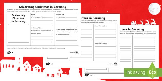 KS2 Celebrating Christmas in Germany Holiday Brochure Differentiated Activity Sheets - Christmas, Nativity, Jesus, xmas, Xmas, Father Christmas, Santa, St Nic, Saint Nicholas, traditions,