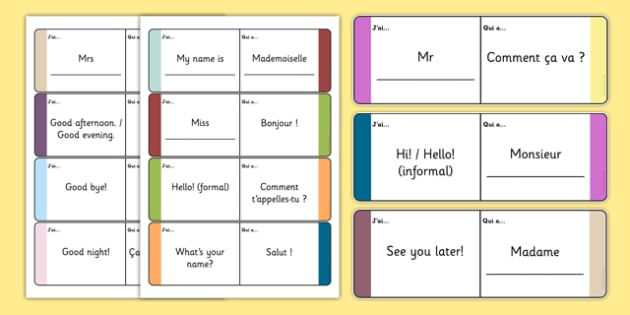 French Meet and Greet Loop Cards - french, meet, greet, loop