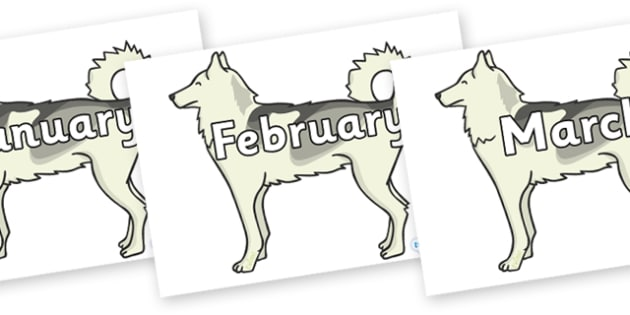 Months of the Year on Huskies - Months of the Year, Months poster, Months display, display, poster, frieze, Months, month, January, February, March, April, May, June, July, August, September