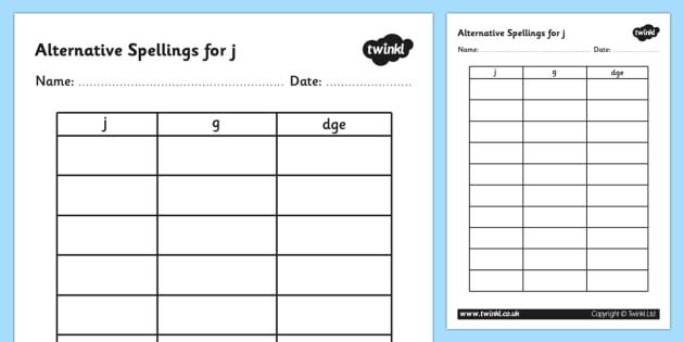 Alternative Spellings for j Table Worksheet- alternative spellings, j, worksheet, j spellings, spellings table, spellings, different spellings, literacy