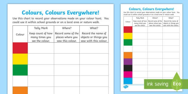 Colours, Colours Everywhere! Outdoor Activity Sheet - CfE Outdoor Learning, nature, forest, Worksheet, woodland, playground, colour hunt,Scottish