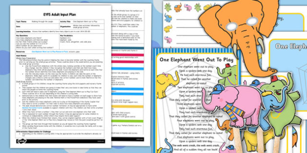 One Elephant Went Out to Play EYFS Adult Input Plan and Resource Pack