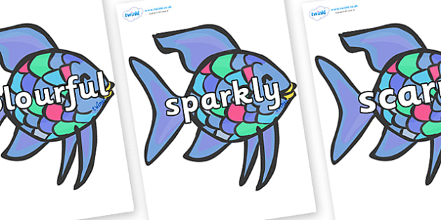 Wow Words on Rainbow Fish (Under the Sea) to Support Teaching on The Rainbow Fish - Wow words, adjectives, VCOP, describing, Wow, display, poster, wow display, tasty, scary, ugly, beautiful, colourful sharp, bouncy