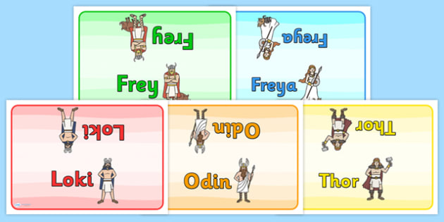 Viking Gods Group Table Signs - viking god group signs, viking god table signs, viking god table cards, history group signs, frey, freya, loki, odin, thor