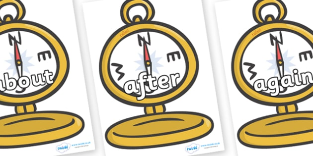 KS1 Keywords on Pocket Watches - KS1, CLL, Communication language and literacy, Display, Key words, high frequency words, foundation stage literacy, DfES Letters and Sounds, Letters and Sounds, spelling