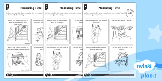 Measuring Time Home Learning Tasks - Measurement, measuring, home learning, homework, measure and record, time, non-standard units, stand