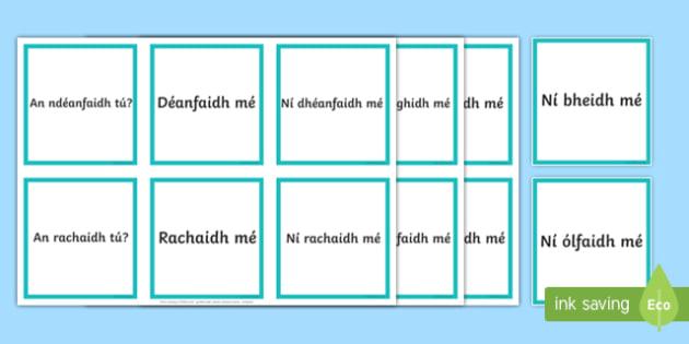 An Aimsir Fháistineach Ceisteanna agus Freagraí Matching Cards Gaeilge
