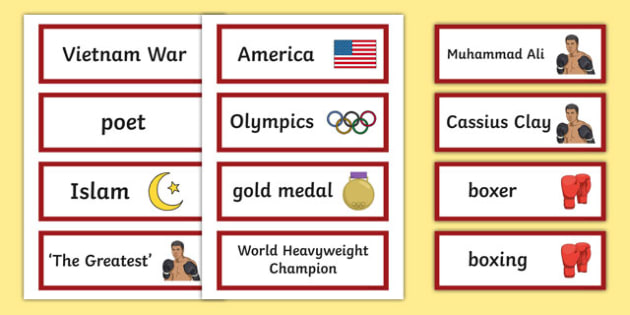 Muhammad Ali Word Cards Word Cards