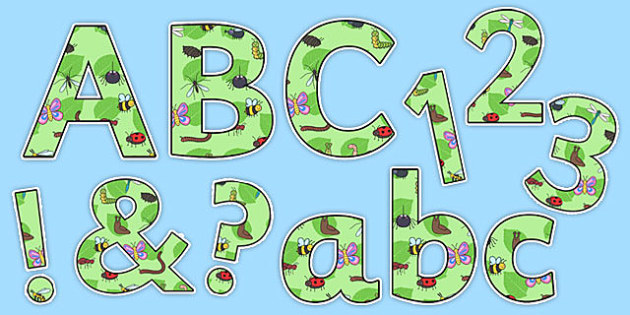 Display Lettering & Symbols (Minibeasts) - Display lettering, display letters, alphabet display, letters to cut out, letters for displays, coloured letters, coloured display, coloured alphabet, minibeast, knowledge and understanding of the world, inv