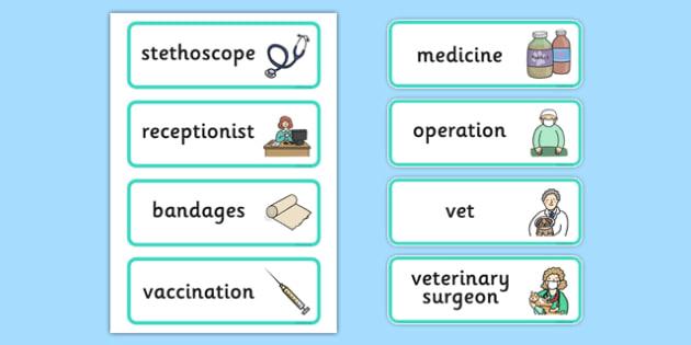 Vets Surgery Labels - Vet Surgery, pets, pet, role play, vets role play, labels, label, vet, operation, xray, nurse, medicine, vaccine, bandage, cat, dog, rabbit
