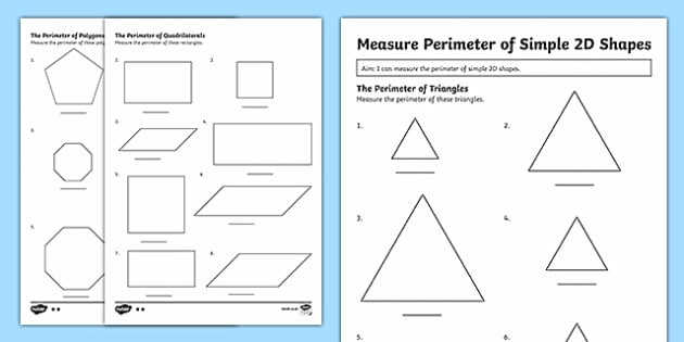 Year 3 Measuring The Perimeter of Simple 2D Shapes Differentiated Activity Sheets