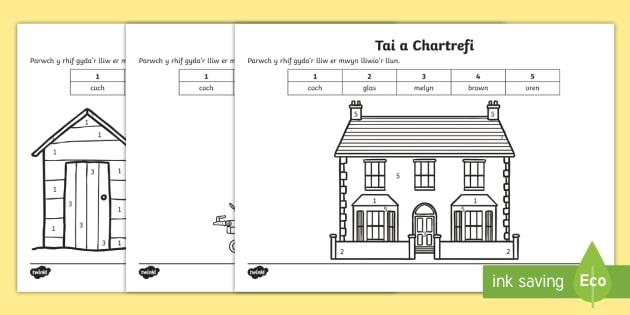 Taflen Liwio Rhif Tai a Chartrefi - Shapes - houses,Welsh