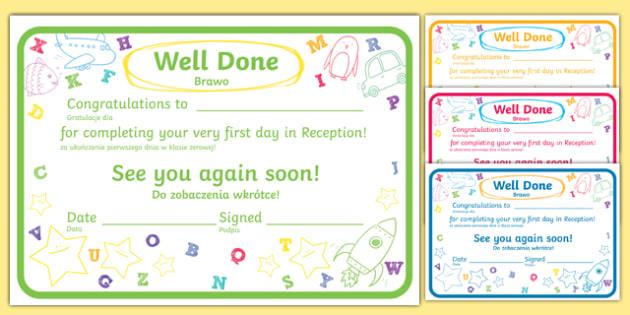 First Day Award Certificates Reception Polish Translation-Polish-translation
