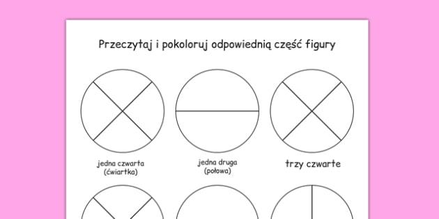 Przeczytaj i pokoloruj Ułamki po polsku - matematyka