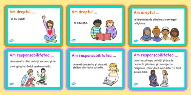 Drepturile și responsabilitățile copilului - Cartonașe