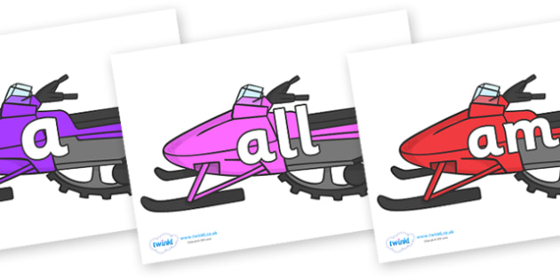 Foundation Stage 2 Keywords on Snowmobiles - FS2, CLL, keywords, Communication language and literacy,  Display, Key words, high frequency words, foundation stage literacy, DfES Letters and Sounds, Letters and Sounds, spelling