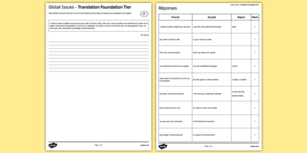 Les enjeux mondiaux Traduction Foundation Tier - french, Global issues, environment, environnement, translation, foundation, traduction