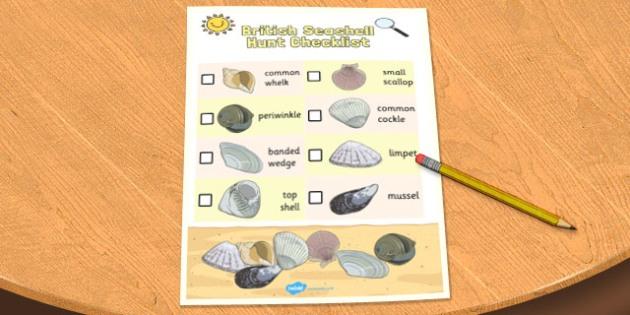 British Seashell Hunt Checklist - checklist, hunt, check, shell