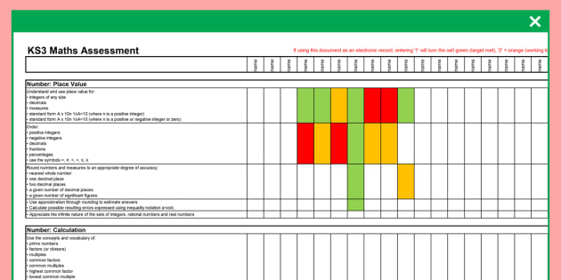 KS3 Maths Assessment Spreadsheet - ks3, maths, assessment, spreadsheet