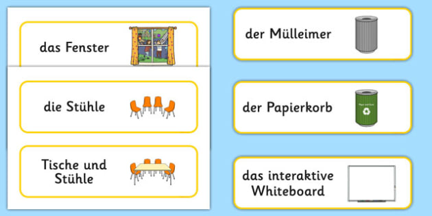 Classroom Furniture Labels German - german, Classroom furniture, furniture label, door, chair, table, window, desk, carpet, bin, dustbin, whiteboard, chalkboard, classroom areas