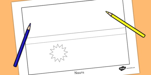 Nauru Flag Colouring Sheet - countries, country, geography, nauru