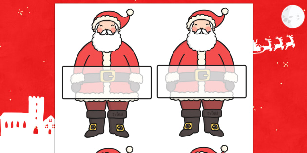 Editable Self Registration Father Christmas - christmas, xmas, self registration, father christmas, father christmas labels, self registration labels on father christmas, self-registration, editable, editable labels, editable self registration labels