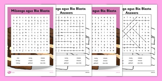 Irish Gaeilge Milseoga agus Bia Blasta Word Search - irish, gaeilge, milseoga, word search, activity