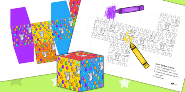 Easter Egg Box Colouring Activity - easter, egg, easter egg, template, art, easter basket net
