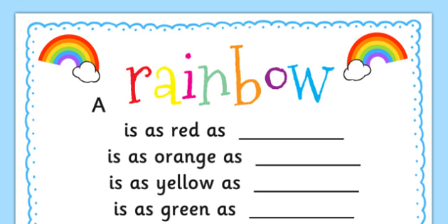 Rainbow Simile Poem Writing Template - rainbow, simile, poem, template