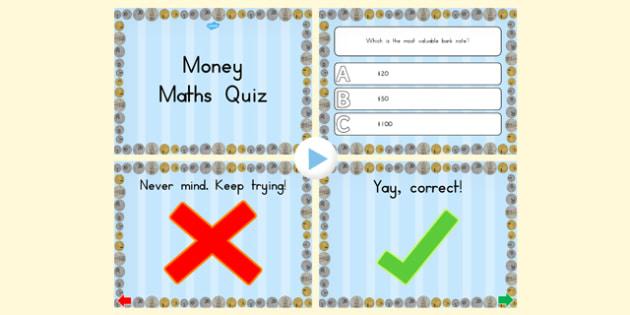 Money Maths PowerPoint Quiz - australia, money, maths, quiz