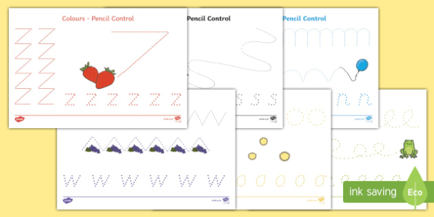 Colour Themed Pencil Control Activity Sheets, worksheet